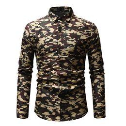$enCountryForm.capitalKeyWord NZ - Hot Sale Fashion Design High Quality Standard Size Men's Digital Army Green Broken Flower LStylish Cotton Long Sleeved Shirt New
