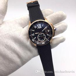 $enCountryForm.capitalKeyWord Australia - Luxury Automatic Diver Two Tone Rose Gold Case Black Rubber Strap Sport Mens Watch Automatic Mechanical Movement Men Watches