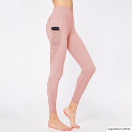 Wholesale phone pants for sale – dress Mobile Phone Pocket Yoga Pants Female Hollow Out Splicing Tight Fit Sports Running Fitness Yoga Pants
