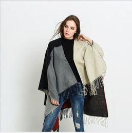 Tartan Scarf Thick Australia - Split scarf shawl dual-use winter thick warm cloak cloak shawl coat long section