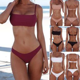 Wholesale Suits Women Australia - New Summer Women Solid Bikini Set Push-up UnPadded Bra Swimsuit Triangle Bather Suit Swimming Suit biquini