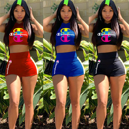 Cropped Tees Australia - Women Champion Tracksuit Summer Sleeveless Hooded Vest + Shorts 2 Pieces Set Crop Tops Tees Shorts Outfits Woman Sports Clothes New C51402