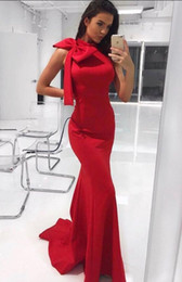 $enCountryForm.capitalKeyWord Australia - Affordable Mermaid Tight Prom Dress High Neck Red Slim Graduation Prom Party Dress With Bow On Shoulder Cheap Sleeveless Dress Evening Wear