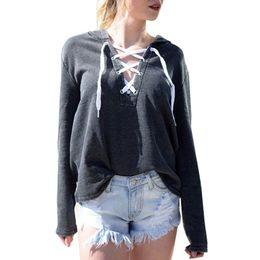 Cross Sweatshirt Hoodie Australia - sweatshirt women Hoodie Sweatshirt Lace Up Long Sleeve Crop Top Coat Front cross Pullover Tops sudaderas mujer 2017