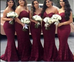 cheap strapless trumpet wedding dresses UK - 2019 Sexy Burgundy Strapless Mermaid Bridesmaid Dress Cheap Full Lace Sheath Prom Evening Gown Long Fomal Wedding Guest Dresses