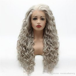 Wig Grey Australia - Fast Shipping Glueless Synthetic Lace Front Wigs For Women Silver Grey Hair Heat Resistant Fiber Long Kinky Curly Frontal Lace Wig 180%
