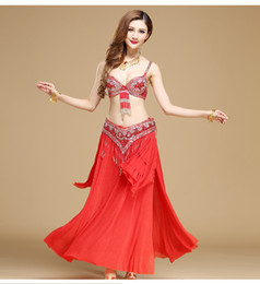 b0a4c6949554 7 colors belly dancing costume suit exquisite beaded tassel bra+belly  Girdle chain Indian dancing stage wear Sexy danciing girls long skirt