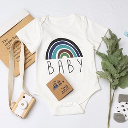baby crew clothing NZ - Kids Baby Rompers Unisex Pure Cotton Rainbow Printing Jumpsuit Infant Summer Short Sleeve Oneises Newborn Climb Clothes Bodysuits