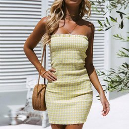 Tight Chest Dresses NZ - Summer Dress Women's Sexy Solid Color Tight Wrapped chest Off Shoulder Tights Slim Dress Vstidoes For Women #30