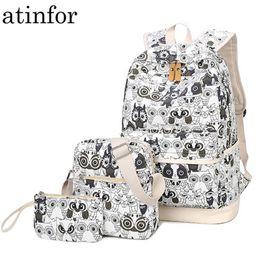 Bag Prints NZ - Set Backpack Women Animal Owl Printing Backpack Canvas Bookbags School Backpacks Bags For Teenage Girls Bagpack Backbag Y19061102