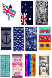 kids beach towel robes 2019 - 38 styles USA cotton UK Canada America Flag Dollar Absorbent Bath Beach Towel animal letters super soft kids children ba
