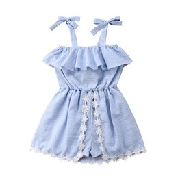 Wholesale 2020 INS Summer Baby Girls dress Striped Sleeveless Pantskirt Lace Up Bowknot Flower Dresses Romper Jumpsuits Kids Princess Dress E22601