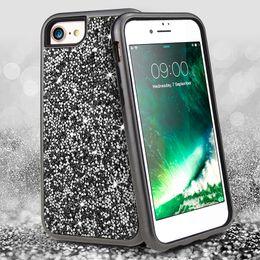 Iphone Girl Silver Case Australia - Defender 3in1 Hybrid Diamond Silicone for iPhone 6 7 8 plus XS MAX XR s10 s10lite Luxury Designer Cases Bling Girls Women