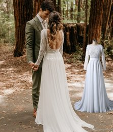Country Bohemian Wedding Dresses 2019 Backless Long Sleeve Sweep Train Lace Chiffon Garden Beach Bridal Gowns robe de mariée