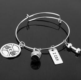 $enCountryForm.capitalKeyWord Canada - Fitness Bangle Expandable Cable Wire Bangle Adjustable Friendship Luxury Designer Jewelry Bracelet Message Dumbbell Barbell Charm Bracelets