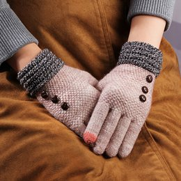Korean gloves online shopping - Gloves Female Winter Cold And Warm Brushed And Thick Korean style Knit Touch Screen Cycling Fingers Outdoor Game Foreign Trade W