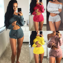 yoga shorts outfit 2020 - New Fashion Women Two-Piece Casual Clothing Set Crop Top Shorts Summer Clothes Outfits with 4 Colors Asian Size cheap yo