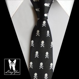 Unique Ties Australia - New 5cm Tie Casual Skinny Necktie Black with White Skull Unique Pattern Corbatas
