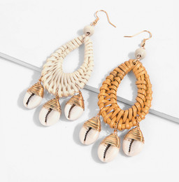 exotic earrings 2019 - 2 Colors Hand-Woven Wood Rattan Weaving Earrings New Round Stone Ear Stud Korean Exotic National Style Earrings discount