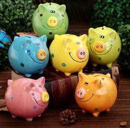 Ceramic Pig Banks Australia - Colorful ceramic smiley pig piggy bank change cup child desktop decoration decoration piggy bank creative gift