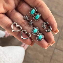 $enCountryForm.capitalKeyWord Australia - 5 Pair Lot Turquoise stud earring set silver plated women heart starfish shape stud earring set retro vintage boho bohemia style jewelry