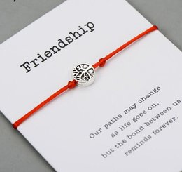 $enCountryForm.capitalKeyWord NZ - new Lucky Candy Colors Life Tree Bracelets for Women Couple Silver Color Alloy Charm Lucky Red String Bracelets Jewelry