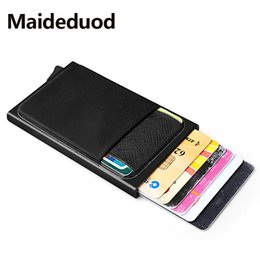 $enCountryForm.capitalKeyWord Australia - NEW Aluminum Wallet With Back Pocket ID Card Holder RFID Blocking Mini Slim Metal Wallet Automatic Pop up Credit Card Coin Purse
