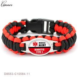 $enCountryForm.capitalKeyWord NZ - CANNER Diabetic Medical Alert ID Bracelet for Women Men Outdoor Survival Braided Bracelets Hiking Camping Emergency Jewelry Q40