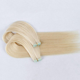 Färg 1 60 Tape In Human Hair Extensions Invisible Tape Remy Hair Extensions 100g / 40Pieces Brasilianska hår Dubbel sidor Lim