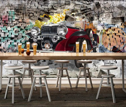 vintage car prints Canada - Customize any size 3D wallpaper mural Nostalgic vintage car through the wall bar restaurant background wallpaper mural decor