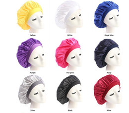Discount dark blue black hair dye - New Muslim Women Stretch Sleep Turban Hat Scarf Silky Bonnet Chemo Beanies Caps Cancer Headwear Head Wrap Hair Loss Acce