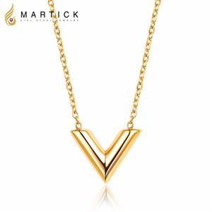 Martick 316L En Acier Inoxydable Or-couleur V Lettre Shap Pendentif Collier Lien Chaîne Collier De Mode Bijoux Top Qualité Pour Fille