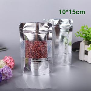 10x15cm 파우치 실버 알루미늄 호일 가방 Doypack 맑은 창 식품 커피 스토리지 지퍼 가방 포장 스탠드