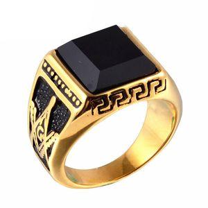 Men Punk Titanium Steel Ring Gioielli vintage intagliato Geometric Hipsters Onyx Stones Accessori massonici Gold Size 8-11