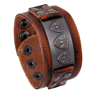 Fashion Charm Bracelets Handmade Retro Brand Charm For Men Button Infinity Wide Brown Leather Bracelets & Bangle Jewelry