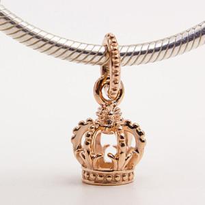 925 стерлингового серебра розовое золото покрытием Корона мотаться очарование шарик подходит Европейский Пандора ювелирные изделия браслеты ожерелья ожерелья подвески