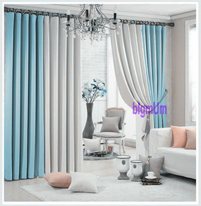 Promotion Solid Color Plain Window Curtains For Living Room+Voile   Thin Curtains 2 Colors Combined White  Black  Green Drapery