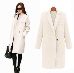 Otoño / invierno largo de la cachemira Abrigos Las mujeres 2015 de Europa y América de la manera delgada chaqueta de cuello largo de lana rompevientos ropa abrigos para mujeres