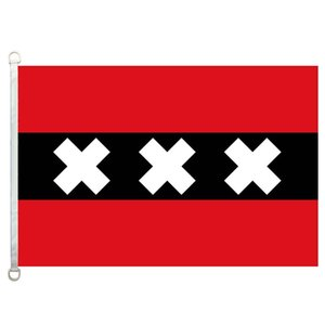 Amsterdam Flag Banner 3X5FT-90x150cm 100% Polyester, 110gsm Warp Knitted Fabric Outdoor Flag