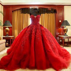 2015 vestido de boda rojo de lujo musulmán por encargo atractivo tren de la corte del tren vestido de boda de lujo de encaje de organza Vestido de fiesta de baile de fin de curso rojo Quinceañera