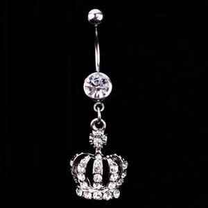 Venda quente Crown Charme Rhinestone Body Piercing Jóias Umbigo Anel Umbigo Jóias Drop Shipping Body-0164