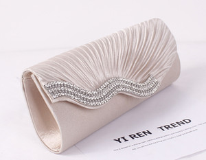 High Quality Women's Satin Evening Bags Crystal Beads Bridal Hand Bags Clutch Box Handbags Wedding Clutch Purse for Women