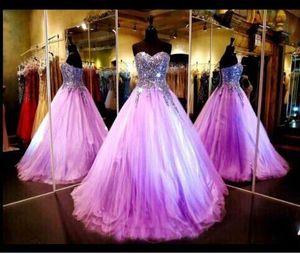 2017 luz roxa Quinceanera Vestidos Bling Sexy Strapless Sequin Ball Vestido Comprimento Formal Vestidos De Noite Formal Vestidos De Avisos BO9261