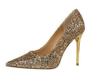2018 новый европейский стиль женщины насосы обувь мелкий рот указал блеск блеск соблазнительный сексуальная свадебные туфли женщина тонкий ночной клуб высокие каблуки
