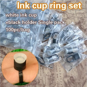 Nuovo arrivo 100PCS / BAG nero con bianco Tattoo Tattoo permanente monouso Finger Ring Ink Holders Caps Supply