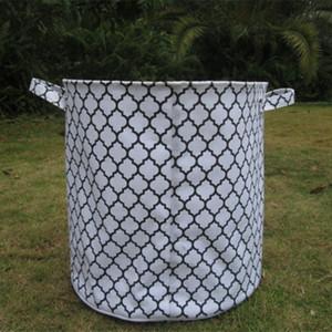 Venta al por mayor Blanks Round Large Storage Basket caja de almacenamiento caja bin lavandería juguete contenedor chevron quatrefoil yute DOM103081