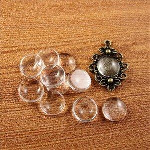 (50 unids / lote) 8/10/12/14/16/18/20/25/30 / 35mm cabujón de cristal transparente claro 1/3 redondo camafeo cubierta de los colectores espaciadores de vidrio perlas de cristal cy981