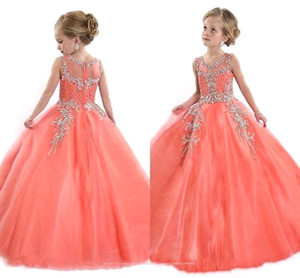Vestidos de cristal meninas pageant coral jóia sem mangas com zíper de volta vestido de baile vestido pageant pretty long little girl prom vestidos bo8908