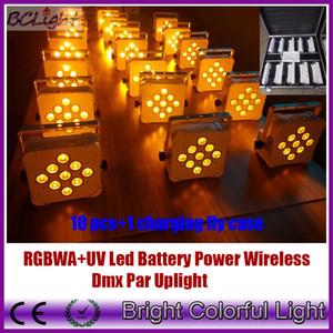 (10 pcs + 1 fly case / lot) Alto brillo Slim Par 9pcs * 18W RGBWAUV LED Flat Par Light batería inalámbrica DMX led par light