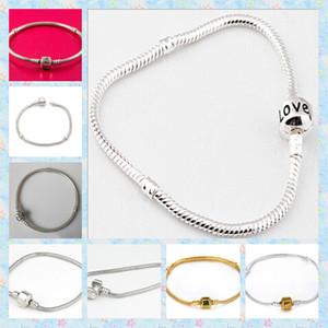 925 Silber 3mm Edelstahl Schlangenkette Armbänder passen europäischen Bead Gold / Silber gemischte Größe 14-23cm 50st